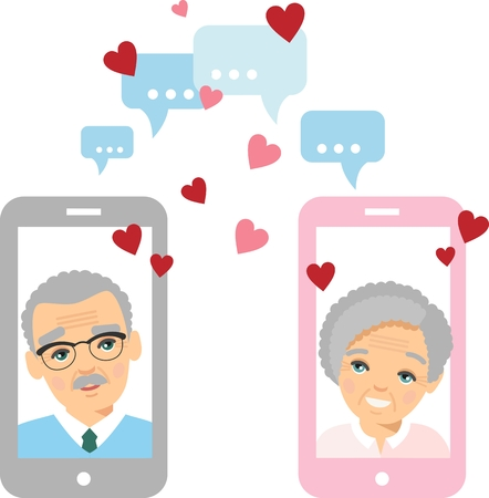 Vector flat elderly lover concept on the computer screen sent a message of love. Illustration