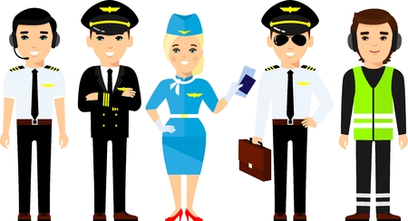 Set of pilot, captain, stewardess in different poses, care for passengers. Stock Photo