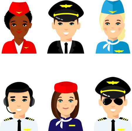 Set of avatar pilot, captain, stewardess.