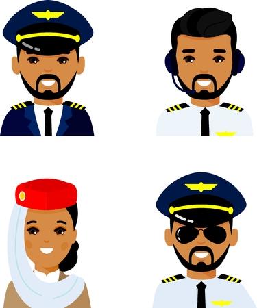 Set of arab avatar pilot, captain, stewardess.