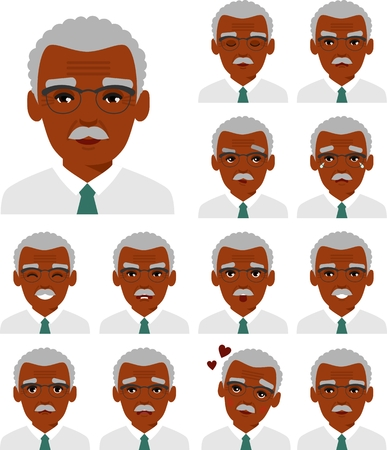 Set of different african american avatar old men in colorful flat style. Stock Photo