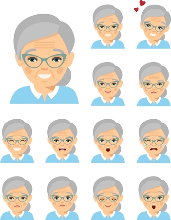Set of different european avatar old women in colorful flat style.