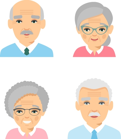 Set of different european avatar old peoples in colorful flat style.