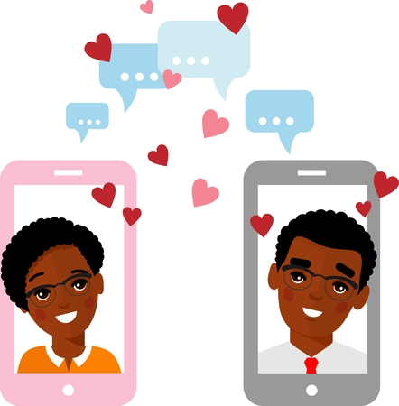 Cute cartoon illustration of african american people in love in a mobile phone.