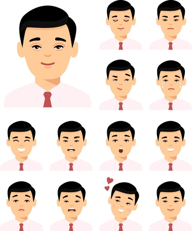 Collection of various emotion expression chinese avatar male happy, angry, sad, funny.