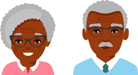 Set of different african american avatar old peoples in colorful flat style.