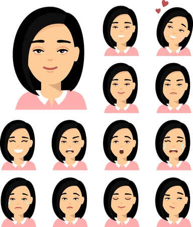 Collection of various emotion expression chinese avatar female happy, angry, sad, funny.