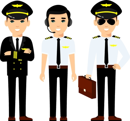 Group of flat cute cartoon people of aircraft characters in air uniform. Illustration