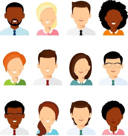 Collection of various avatars of international man, woman. Illustration
