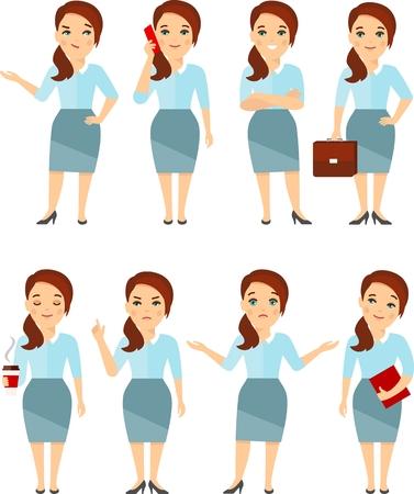 Set of vector diversity businesswoman, secretary in move.
