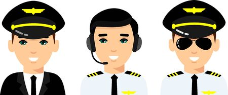 Set of people aviation professions, avatar pilot, captain, and airline staff.