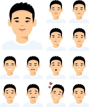 Collection of various expressions chinese avatar guy smile, happy, angry, sad, funny