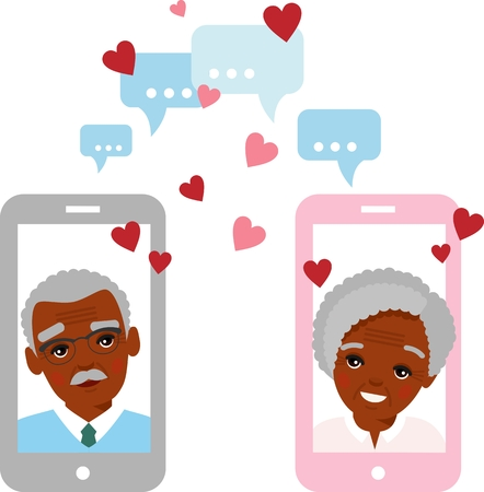 Vector flat elderly lover concept on the computer screen sent a message of love. Age lovers chat online on the Internet.