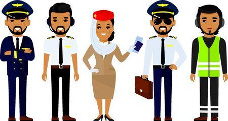Group of flat cartoon muslim people aircraft characters in air uniform.
