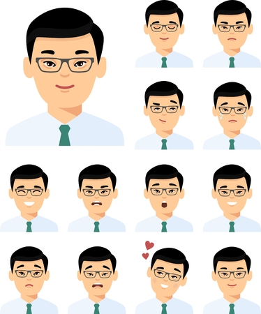 Collection of various expressions chinese avatar guy smile happy angry sad, funny