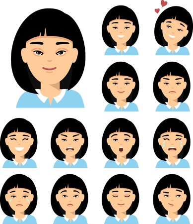 Collection of various expressions chinese avatar female smile happy angry sad, funny