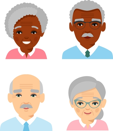 Collection of various faces of international age man, woman. Illustration