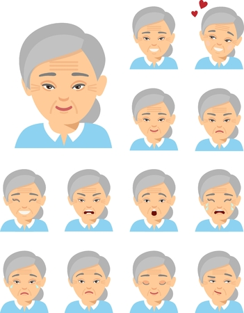 Collection of various expressions chinese avatar female smile happy angry sad funny. Illustration