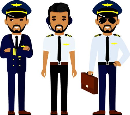 Set of arab people aviation professions, pilot, captain and airline staff in different poses.