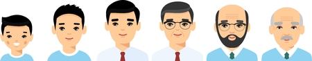 Set of european age group avatars man in colorful style. All age group of european man. Generations man. Illustration