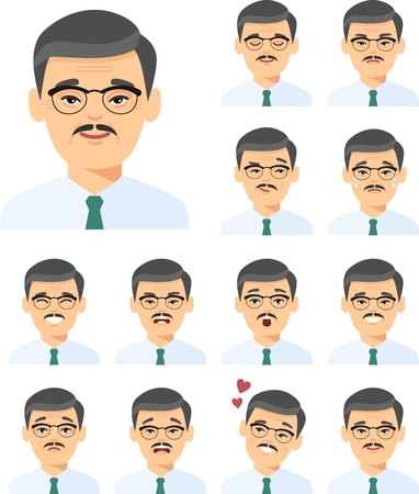 Set of isolated different facial emotions young asian man in colorful flat style. Illustration