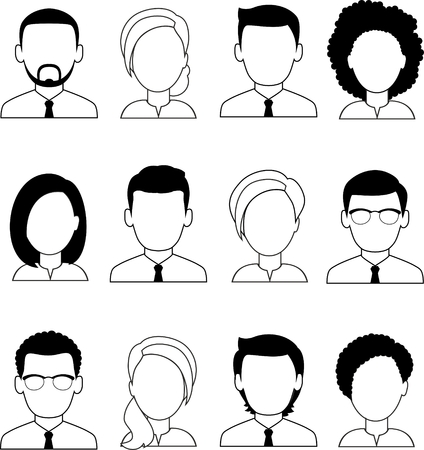 Collection of various black white avatars of man, woman.