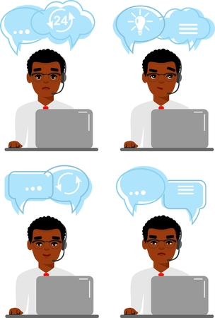 Call center african american avatar of online customer support service assistants with shopping icon. Vector illustration in flat design.