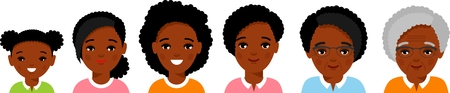 Set of african american age group avatars woman in colorful style. All age group of african american female. Generations woman.