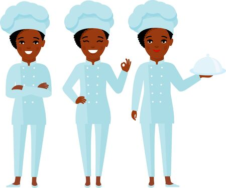 Collection of chef woman in white hat in different poses.