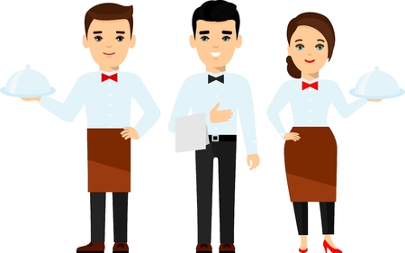 Set of smiling restaurant workers - restaurant or hotel administration, waiter, chef.
