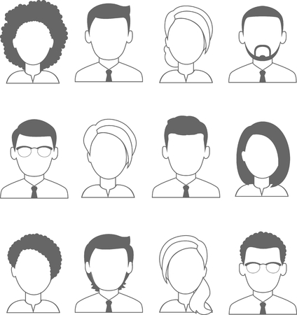 Occupation avatars of different manager. Collection of various avatars of female male. Illustration