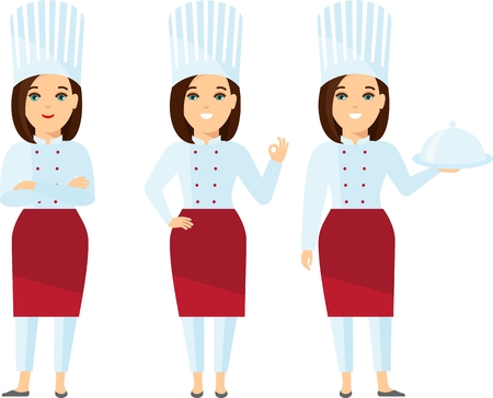 Characters set of smiling female cooks in restaurant .