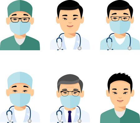 Set of avatar asian doctor and nurse in colorful flat style.