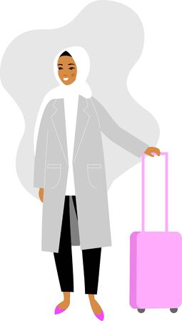 Arabic woman traveler with luggage in smart casual clothes on white background in flat style. Illustration