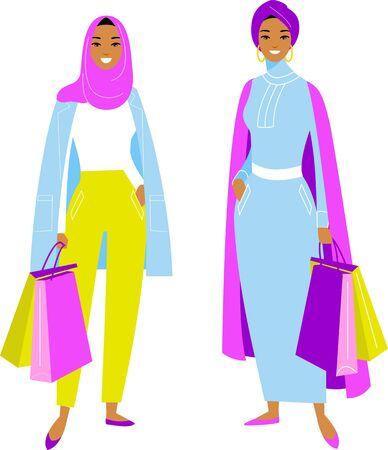 Vector colorful illustration of arab women in modern clothes hijab in the shop.