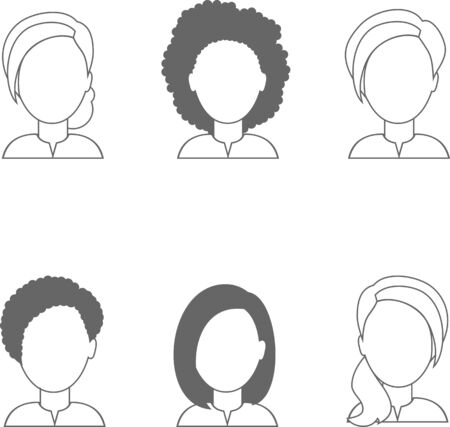 Set of different business avatar female in black and white color palette.