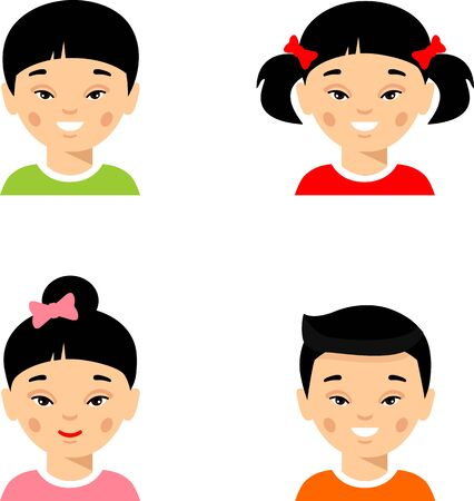 Set of different avatars asian girl, boy in colorful flat style. Illustration