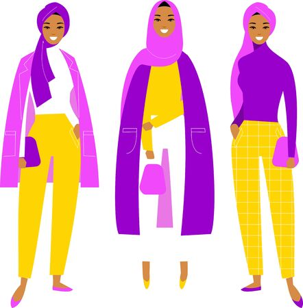 Different young beautiful islamic saudi arabic girls in smart casual clothes on white background in flat style. Illustration