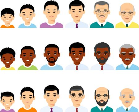 Set of different avatar african american, european, china peoples in colorful flat style. Illustration
