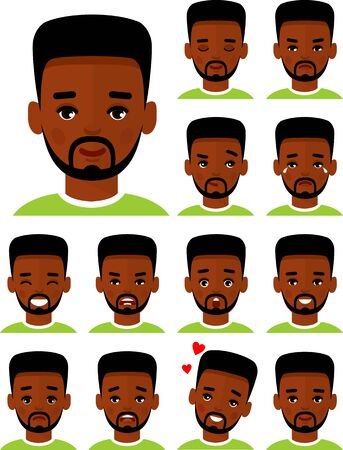 Collection of various emotion expression avatar male happy, angry, sad, funny.