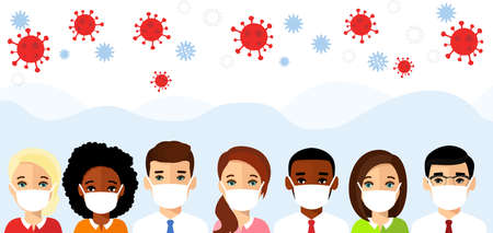 Protect from covid 19 coronavirus. Set of avatar characters of people in white medical mask.