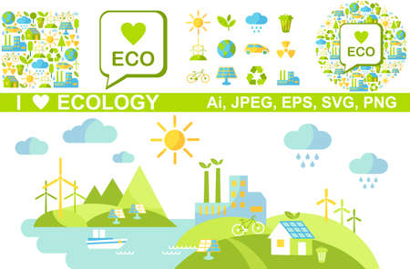 Ecology concept panoramic landscape with green city on earth.