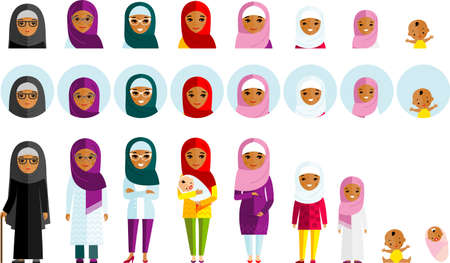All age group of female arab family. Generations muslim woman.