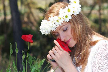 flor: novia en bosque