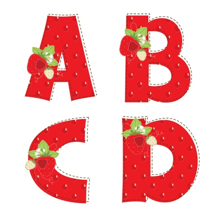 Patchwork red strawberry alphabet  Letter A, B, C, D Vector