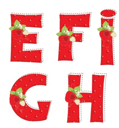 homespun: Patchwork red strawberry alphabet  Letter E, F, G, H, I