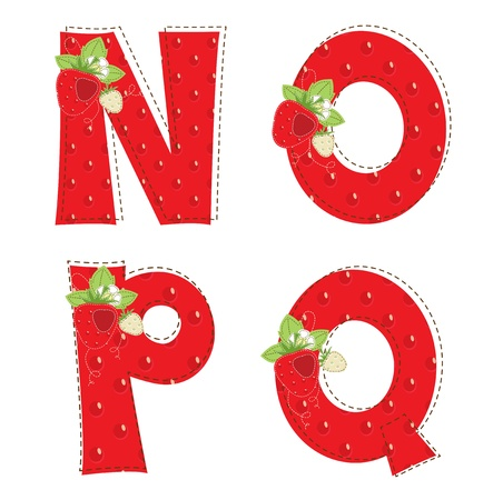 patchwork: Patchwork red strawberry alphabet  Letter N, O, P, Q Illustration