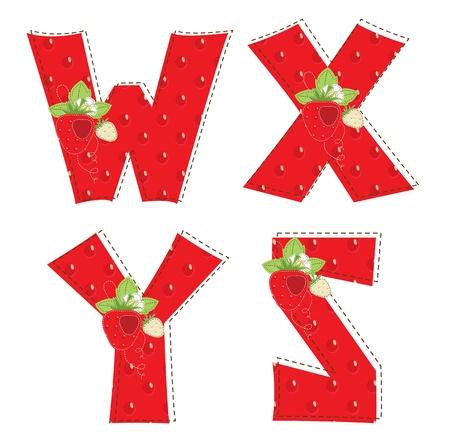 homespun: Patchwork rojo letra del alfabeto fresa W, X, Y, Z