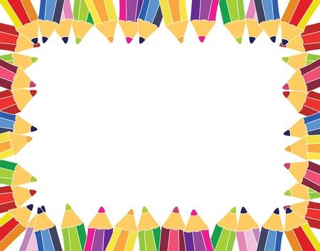 ni�os con l�pices: marco de l�pices de colores