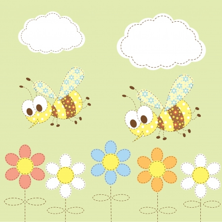 kid  background with bees and flowers Vector